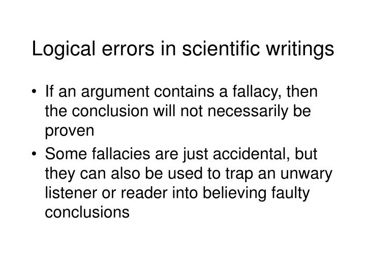 Logical errors in scientific writings