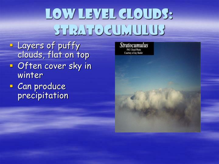 Low level clouds: Stratocumulus