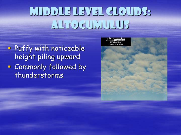 Middle level clouds: Altocumulus