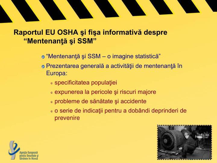"""Raportul EU OSHA şi fişa informativă despre """"Mentenanţă şi SSM"""""""