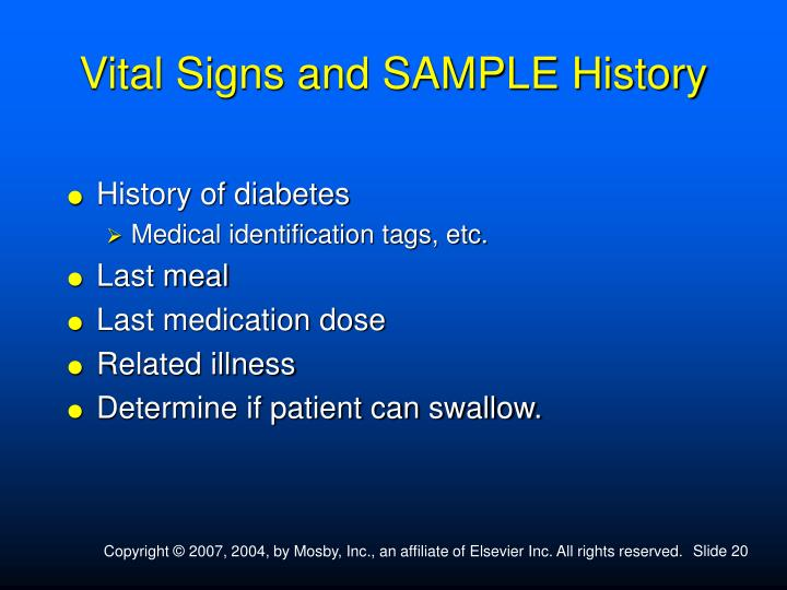 Vital Signs and SAMPLE History
