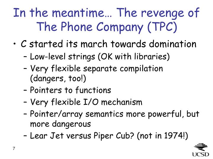 In the meantime… The revenge of The Phone Company (TPC)