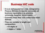 business vat code