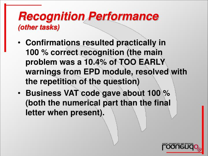 Recognition Performance