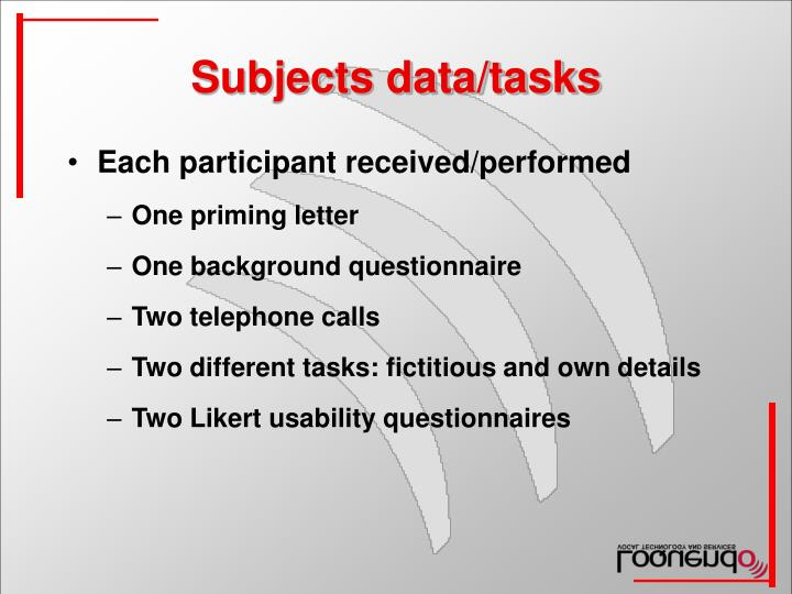 Subjects data/tasks