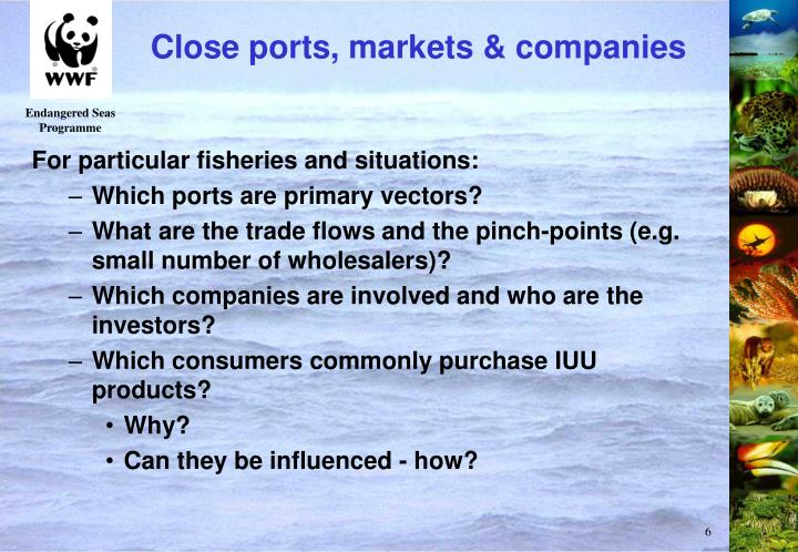 Close ports, markets & companies