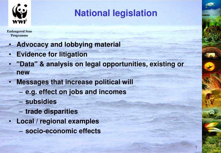 National legislation