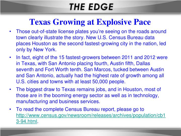 Texas growing at explosive pace