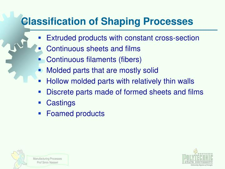 Classification of Shaping Processes