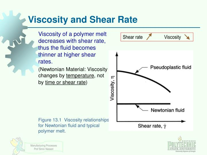 Viscosity of a polymer melt decreases with shear rate, thus the fluid becomes thinner at higher shear rates.