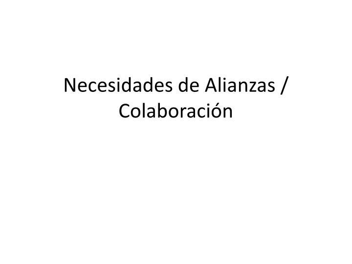 Necesidades de Alianzas / Colaboración