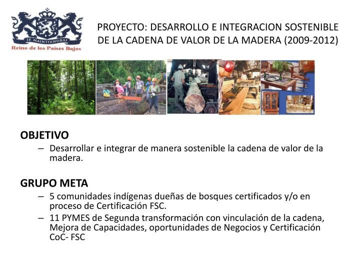 PROYECTO: DESARROLLO E INTEGRACION SOSTENIBLE DE LA CADENA DE VALOR DE LA MADERA (2009-2012)