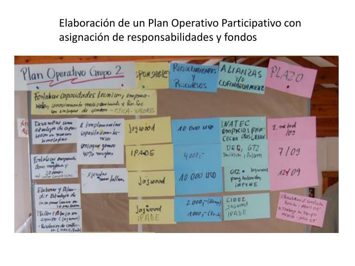 Elaboración de un Plan Operativo Participativo con asignación de responsabilidades y fondos