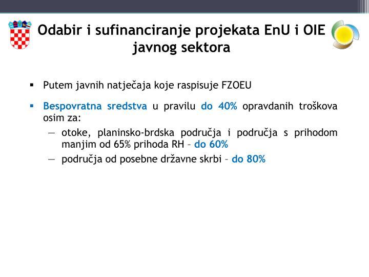 Odabir i sufinanciranje projekata EnU i OIE