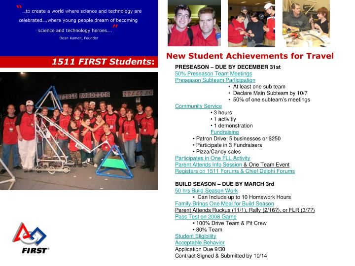 New Student Achievements for Travel