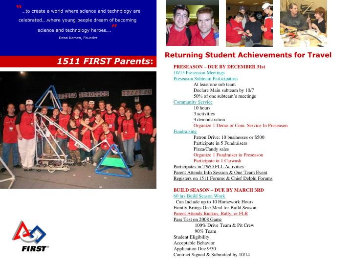 Returning Student Achievements for Travel