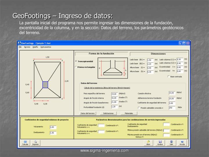 GeoFootings – Ingreso de datos: