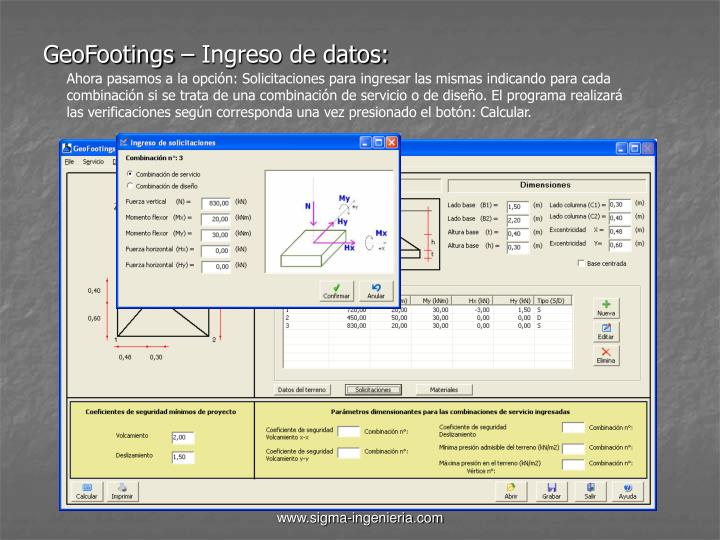 GeoFootings – Ingreso de datos: