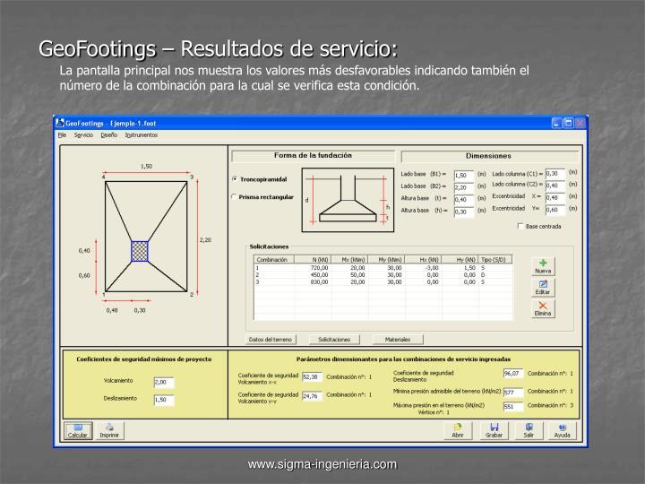 GeoFootings – Resultados de servicio: