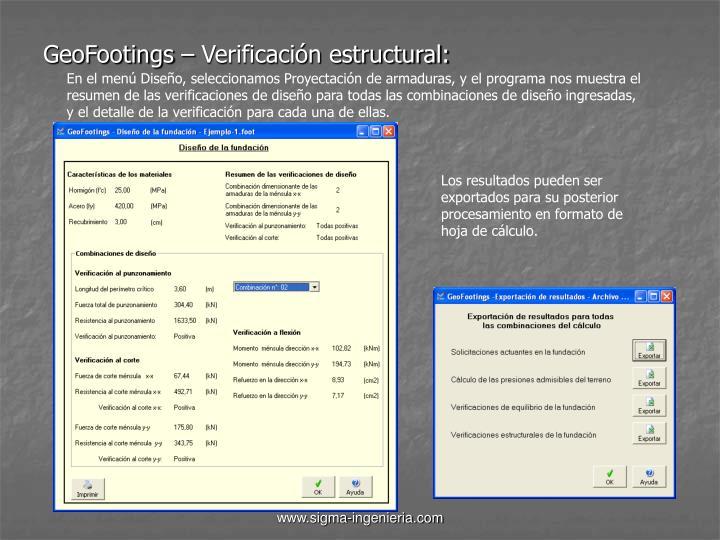 GeoFootings – Verificación estructural: