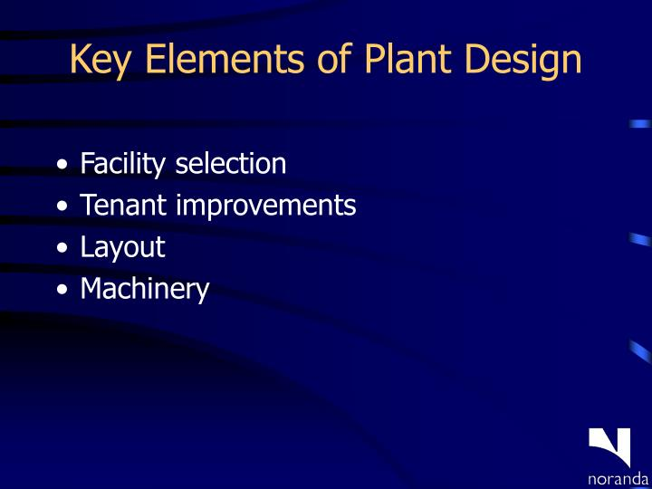 Key Elements of Plant Design