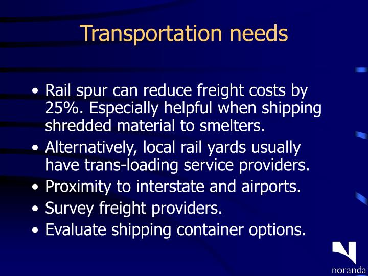 Transportation needs