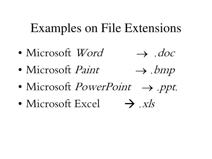 Examples on File Extensions
