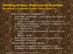 working across business to business becoming a customer centric value chain cont
