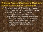 working across business to business establishing close and tight relationships