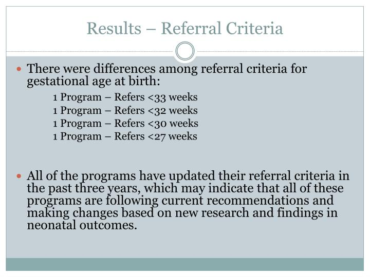 Results – Referral Criteria