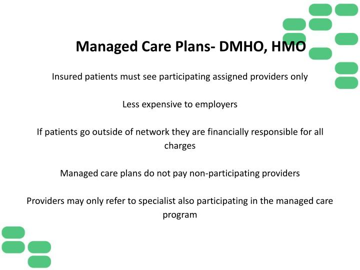 Managed Care Plans- DMHO,