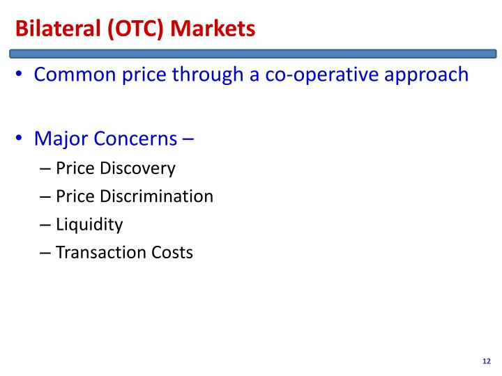Bilateral (OTC) Markets