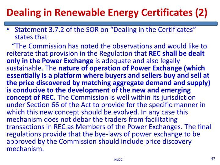 Dealing in Renewable Energy Certificates (2)