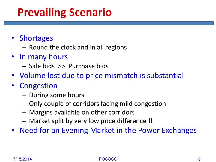 Prevailing Scenario