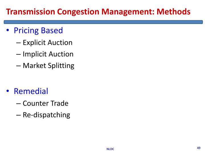 Transmission Congestion Management: Methods