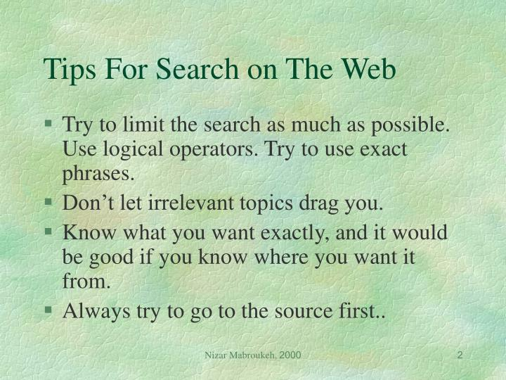 Tips for search on the web