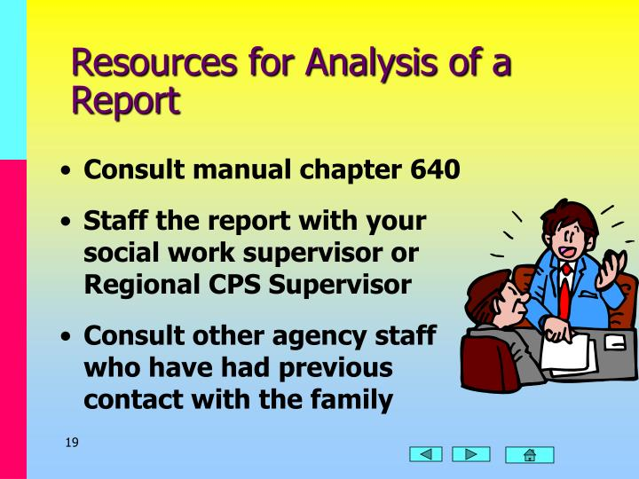 Resources for Analysis of a Report