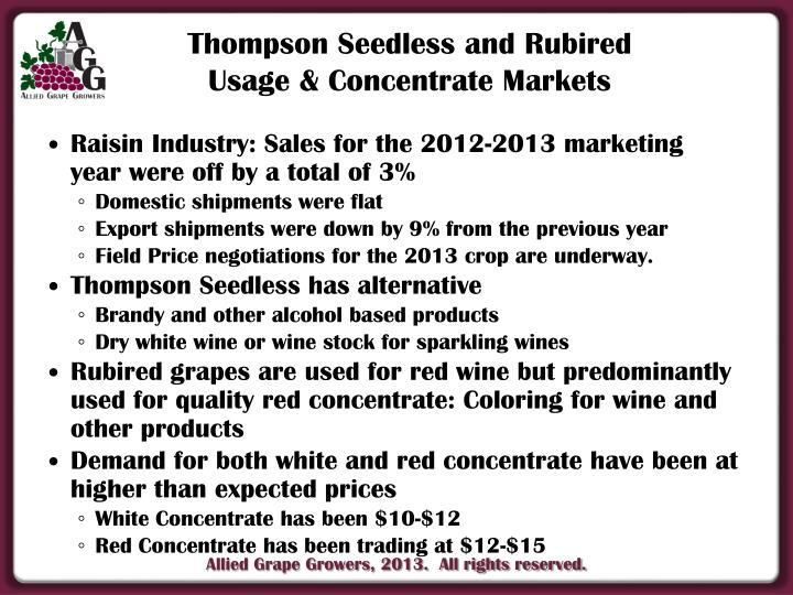Raisin Industry: Sales for the 2012-2013 marketing year were off by a total of 3%