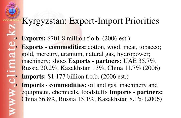 Kyrgyzstan: Export-Import Priorities