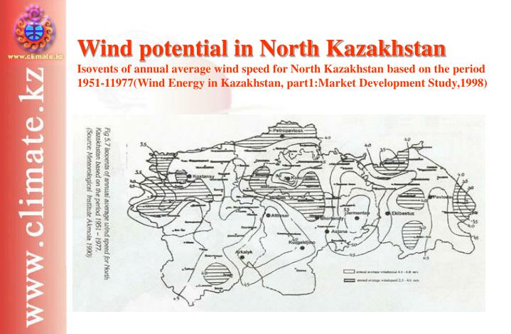 Wind potential in North Kazakhstan