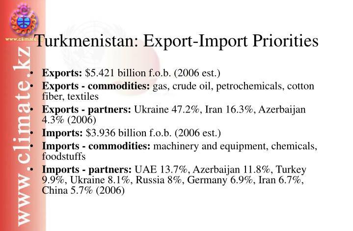 Turkmenistan: Export-Import Priorities