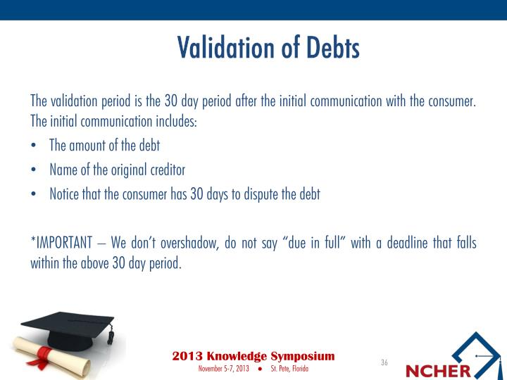 Validation of Debts