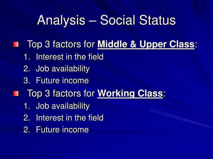 Analysis – Social Status