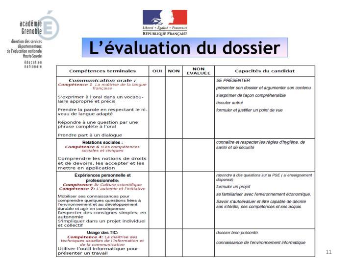 L'évaluation du dossier