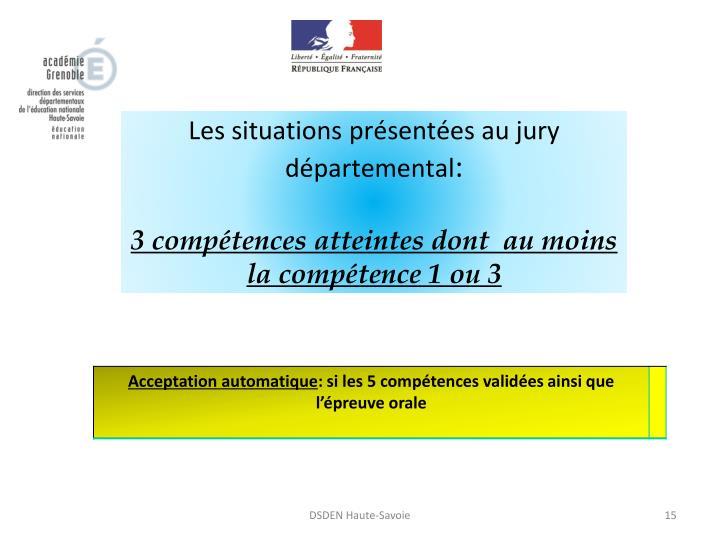 Les situations présentées au jury départemental