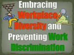 embracing workplace diversity and preventing work discrimination