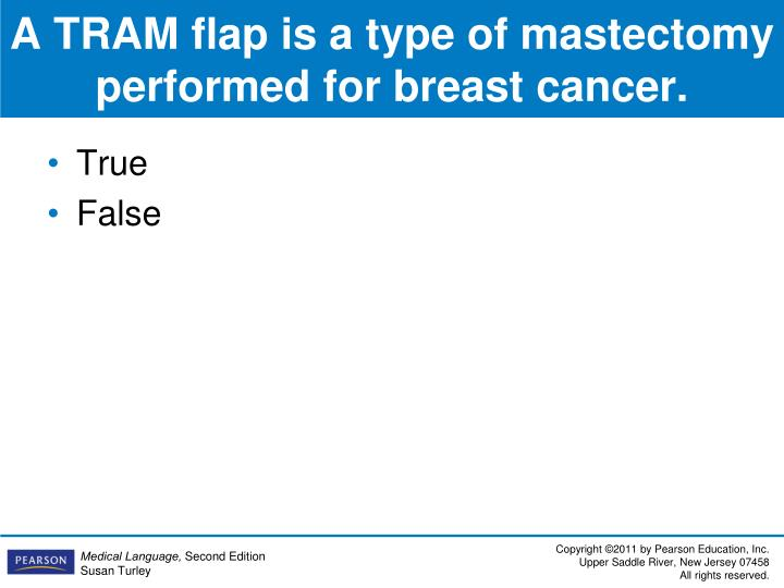 A TRAM flap is a type of mastectomy performed for breast cancer.
