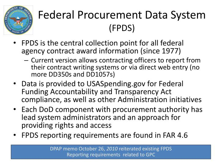 Federal Procurement Data System : Ppt purchase card directives powerpoint presentation