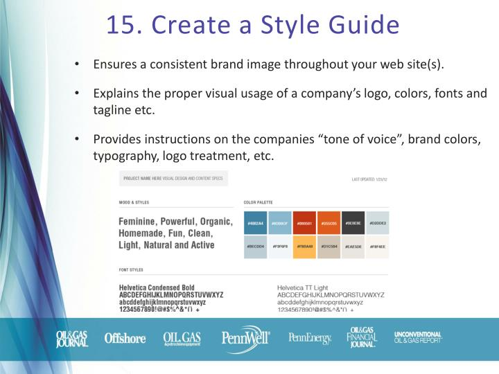 15. Create a Style Guide