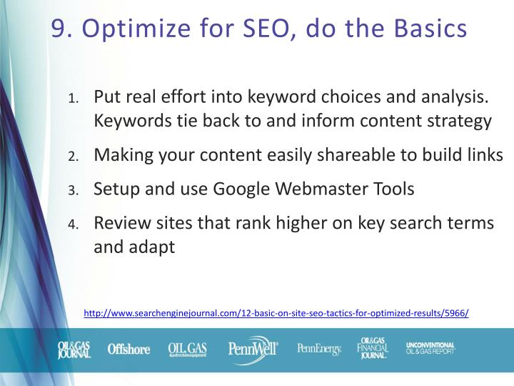 9. Optimize for SEO, do the Basics